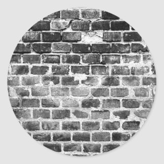 Old Grey Weathered Brick Wall Texture Round Sticker