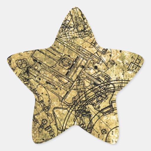 Old Grunge Blueprint Star Stickers