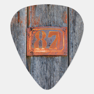 Old Grunge Rusty Metal House Number No. 87 Photo , Guitar Pick