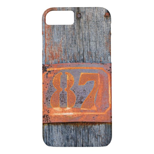 Old Grunge Rusty Metal House Number No. 87 Photo * iPhone 8/7 Case