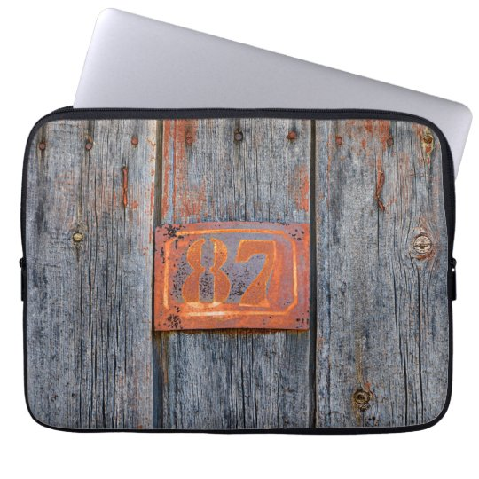 Old Grunge Rusty Metal House Number No. 87 Photo - Laptop Sleeve
