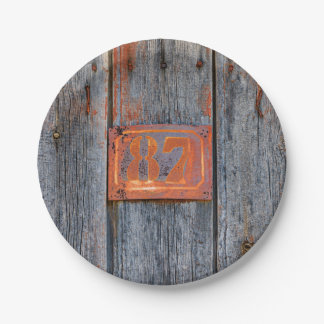 Old Grunge Rusty Metal House Number No. 87 Photo _ Paper Plate