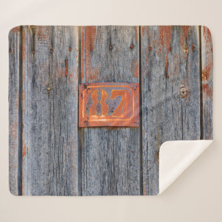 Old Grunge Rusty Metal House Number No 87 Photo . Sherpa Blanket