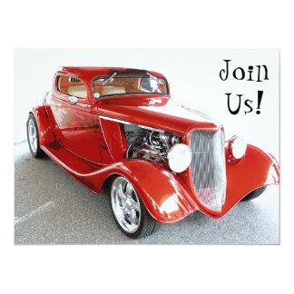 "Old Guy Birthday Party - Classic Car 5.5"" X 7.5"" Invitation Card"