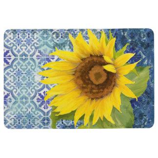 Old Havana Tile Pattern Sunflower Floral Wooden Floor Mat