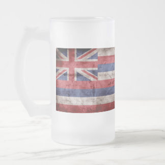 Old Hawaiian Flag; Frosted Glass Beer Mug
