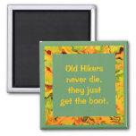 old hikers joke square magnet