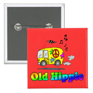 Old Hippie Bus 2 Inch Square Button