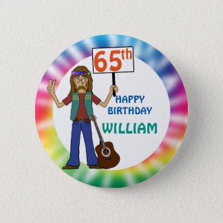 Old Hippie Hippy Tie Dye 65th Birthday Party 2 Inch Round Button