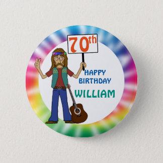Old Hippie Hippy Tie Dye 70th Birthday Party 2 Inch Round Button