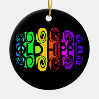 OLD HIPPIE ornament, customize Ceramic Ornament