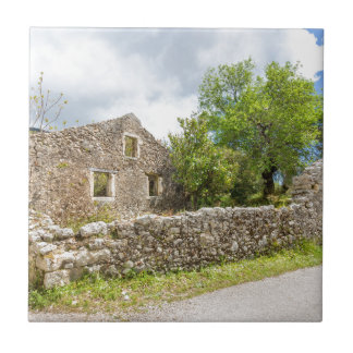 Old historic house as ruins along road tile