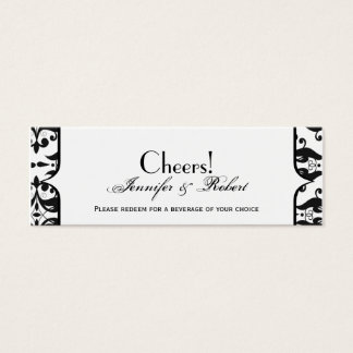 Old Hollywood Damask Wedding Drink Ticket