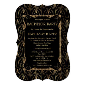 Old Hollywood Gold Great Gatsby Bachelor Party Card