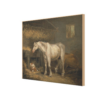 Old Horses with a Dog in a Stable by George Morlan Canvas Print