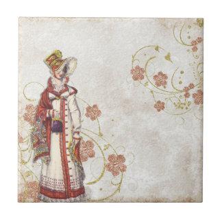 Old illustration of a girl ceramic tiles