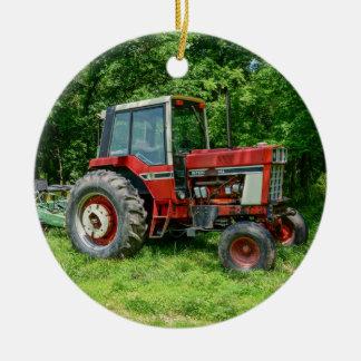 Old International Tractor Ceramic Ornament