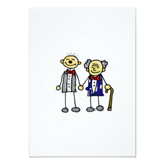 Old Interracial Gay Couple white asian 5x7 Paper Invitation Card