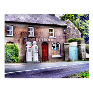 Old Irish Petrol Station Postcard