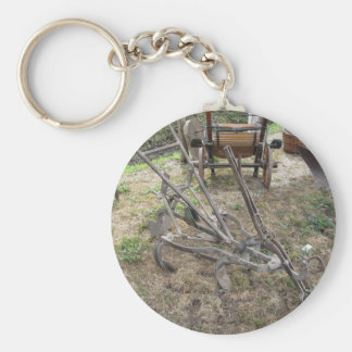 Old iron plow and other agricultural tools basic round button keychain