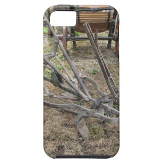Old iron plow and other agricultural tools iPhone 5 case