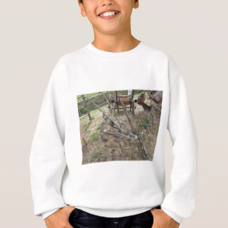 Old iron plow and other agricultural tools sweatshirt