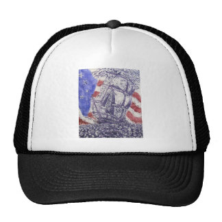 old ironsides woodcut print trucker hat