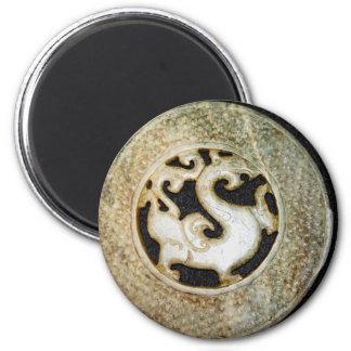 Old Jade Dragon Bi, arcahic Chinese Jade 2 Inch Round Magnet