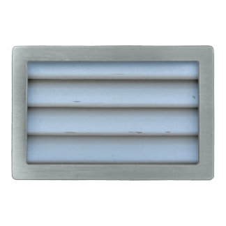 Old jalousie window with wooden slats gray painted belt buckle