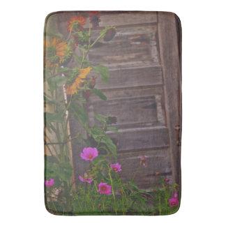 Old Kitchen Door Bath Mat Western Flowers