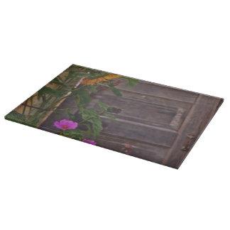 Old Kitchen Door Cutting Board Western Flowers