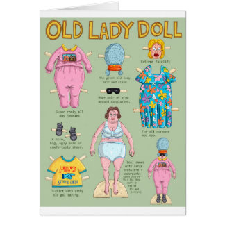 Old Lady Paper Doll. Card