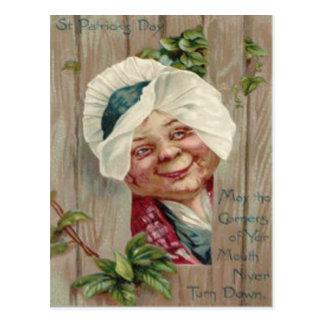 Old Lady Smile Shamrock Fence Bonnet Post Card