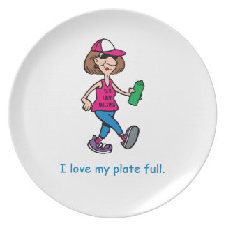 Old Lady Walking Plate