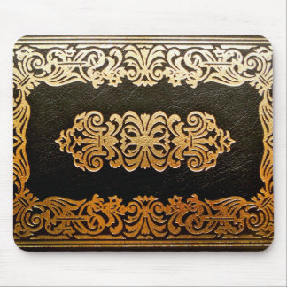 Old Leather Book Cover Black and Gold Mouse Pad