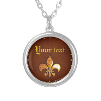 Old Leather Cover with golden Fleur-de-Lys - Silver Plated Necklace