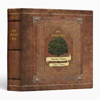Old Leather Look Family Tree w. Individual Name 1 Vinyl Binders