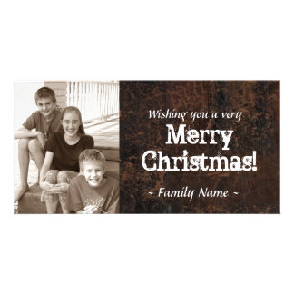 Old Leather Photo Christmas Card