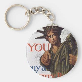 "Old ""Liberty Bond""  U.S. War Poster c. 1917 Basic Round Button Keychain"