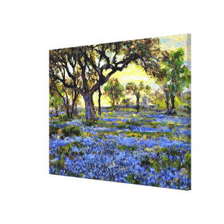Old Live Oak Tree and Bluebells - Onderdonk art Canvas Print
