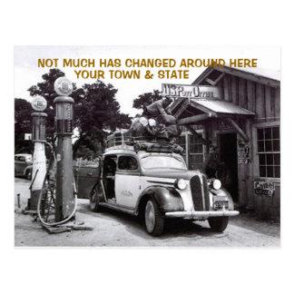 OLD LOG FILLING STATION & CAR ~NOSTALGIC Postcard! Postcard