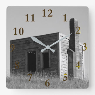 old lonely farm house on the hill square wall clock