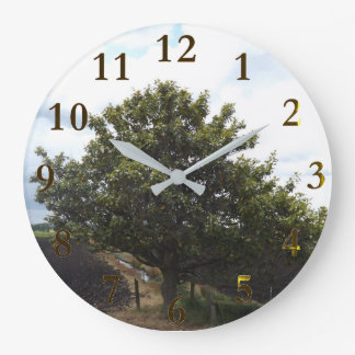 old lonely farm tree large clock