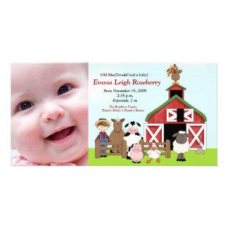 Old MacDonald Farm 8x4 Photo Birth Announcement Card