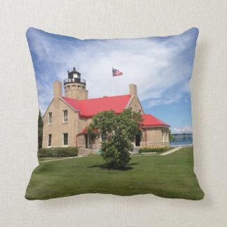 Old Mackinac Point Lighthouse Bridge Throw Pillow