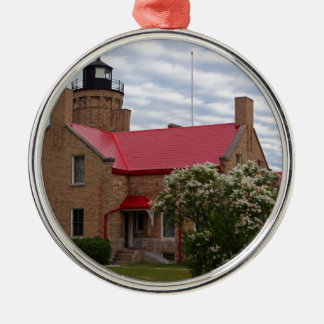Old Mackinac Point Lighthouse Silver-Colored Round Ornament