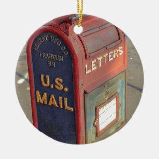 Old Mailbox Round Ceramic Ornament