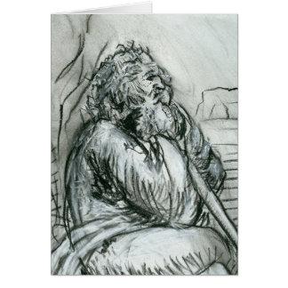 Old Man After Leonardo da Vinci Card