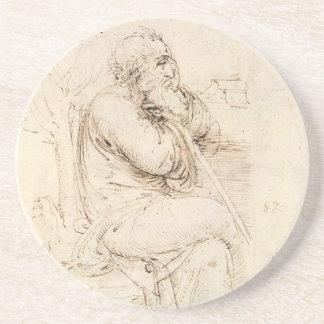 Old Man and Water Sketch by Leonardo da Vinci Coaster