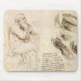 Old Man and Water Sketch by Leonardo da Vinci Mousepads